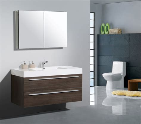 Brown Bathroom Furniture Inspiring Modern Bathroom Furniture Designs With Floating Single Sink Brown Painted Refinished
