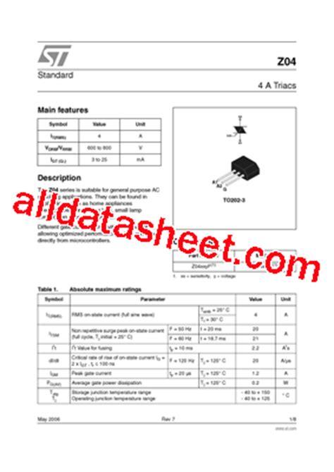 z0409mf datasheet pdf stmicroelectronics