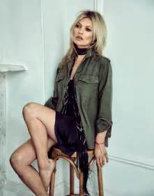 Kate moss wears jacket and dress from kate moss for equipment with