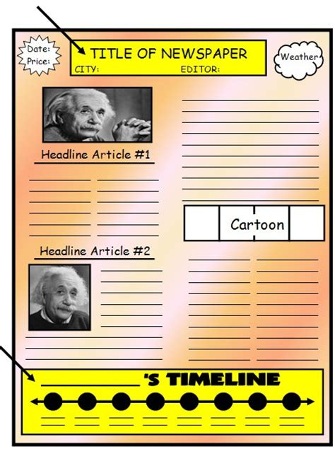 biography activities for elementary students biography book report newspaper templates printable