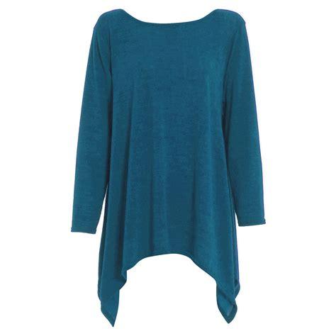 swing tops with sleeves womens ladies knitwear knitted long sleeves hanky hem