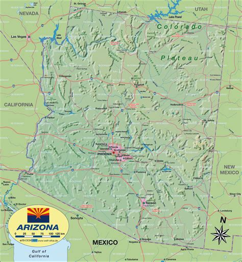 us map with arizona map of arizona united states of america usa map in