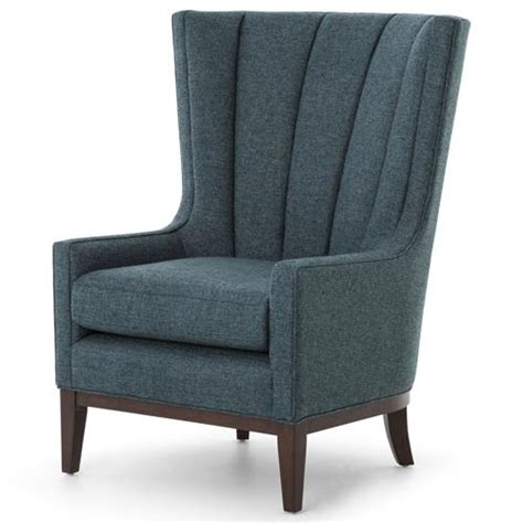 Armchair Classic by Vida Modern Classic Peacock Teal Fabric Wood Wing