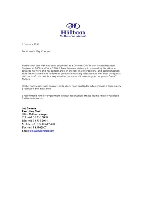 Recommendation Letter For Kitchen Employee Recommendation Letter From