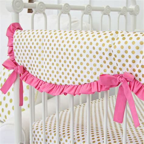 Ruffle Crib Bedding Pink And Gold Dot Ruffle Crib Bedding Set By Caden