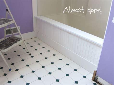 beadboard around bathtub diy home improvement budget bathroom makeover inmyownstyle com