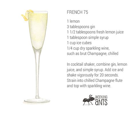french 75 recipe card quite a kicker cocktail the french 75 working ants