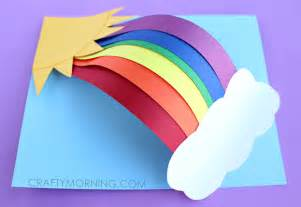 How To Make A Paper Rainbow - 3d paper rainbow craft crafty morning