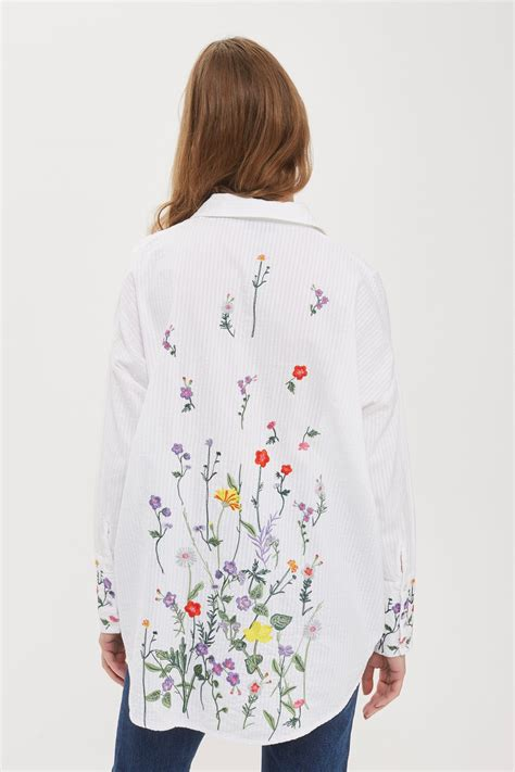 Kemeja Wanita White Floral Embroidered Shirt Size M 421362 floral embroidered shirt topshop usa