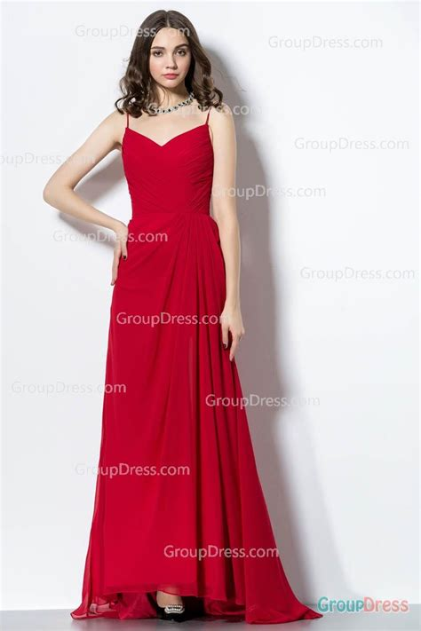 long red promotion dress fashion spaghetti straps v neck front short back long red