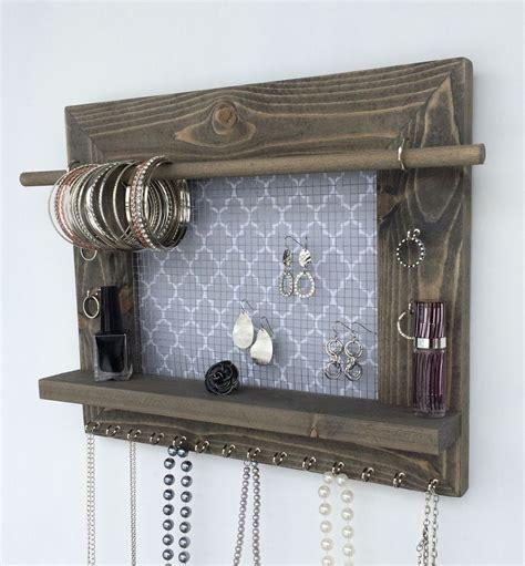 hanging jewelry organizer barn wood wall display holder