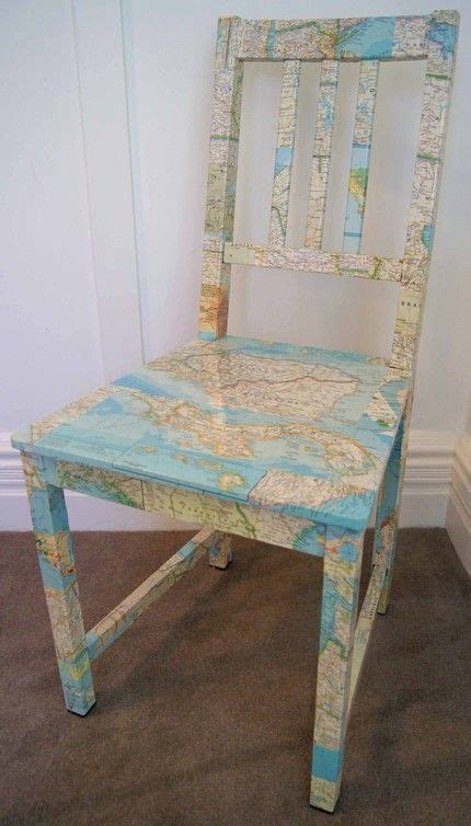 Map Decoupage - decoupage chair w map dictionary or magazine pages etc