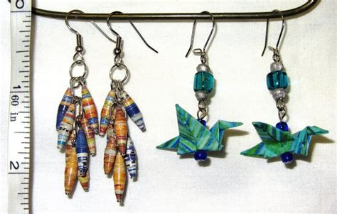 How To Make Earrings Out Of Paper - paper bead earrings by joyofcocacola on deviantart
