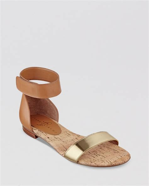 flat shoes with ankle straps lyst ivanka flat open toe ankle sandals