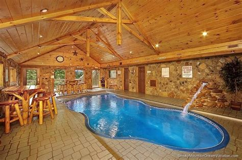 Cabins In Gatlinburg With Indoor Pool by Cabin Style Home Ideas With Small Indoor Pools In Gatlinburg And Cedar Log Bistro Bar Stools