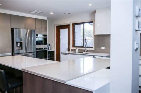 kitchens timpelle kitchens shitake and osprey caesarstone bench tops in designer