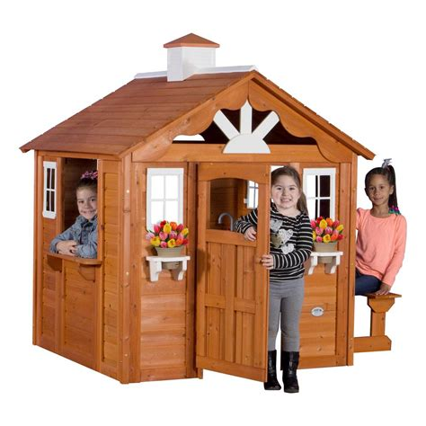 backyard discovery cedar playhouse backyard discovery summer cottage all cedar playhouse