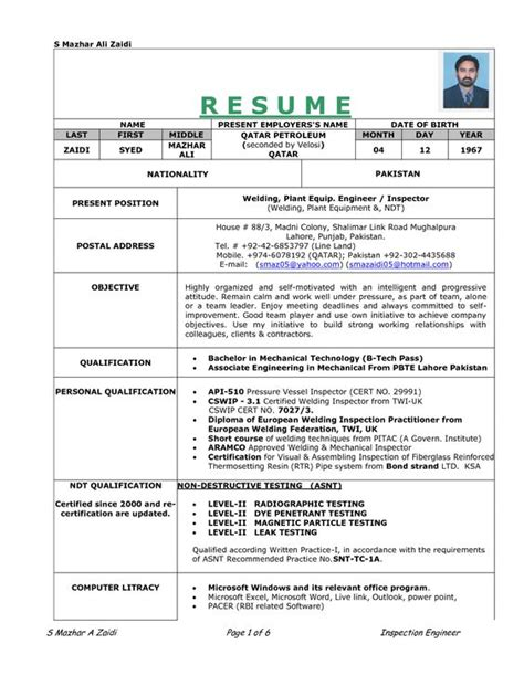 Welder Resume Exles Sles Resume Sle Resume And Welding On