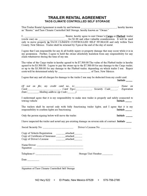 exle printable lease agreement trailer rental agreement 6 free templates in pdf word