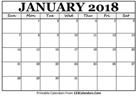 printable calendar for january 2018 printable january 2018 calendar templates 123calendars com