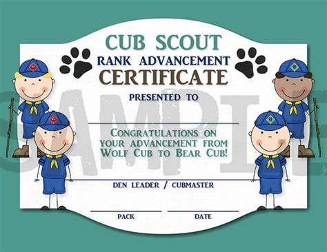 cub scout certificate templates rank advancement certificate wolf cub to cub