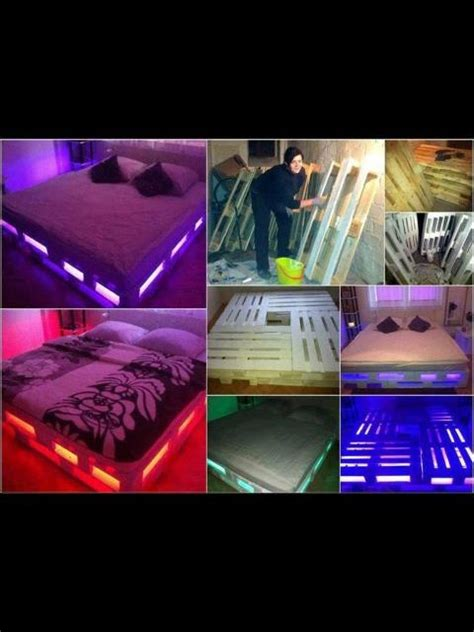 bed frame with led lights pallet light up platform bed misc pinterest beds