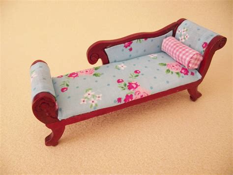 shabby chic chaise lounge miniature doll house 12th scale wooden furniture shabby