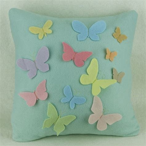Handmade Cushions Uk - green felt cushion cover with cut felt butterflies in