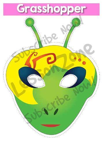 printable grasshopper mask lesson zone au cartoon style animals