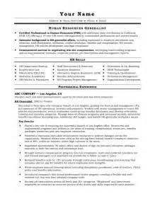 Resume Format For Hr by Sle Hr Generalist Resume Free Resumes Tips