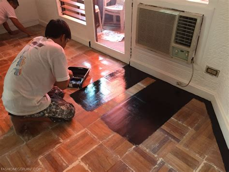 How To Paint A Wood Floor by How To Paint Wood Parquet Floor Fashion Eggplant