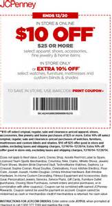 Jcpenney coupons 10 off 25 at jcpenney or online via promo code