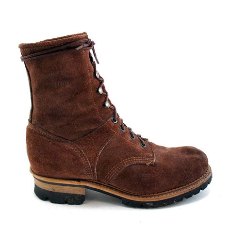 logger boots rust suede logger boots by boot by rabbithousevintage