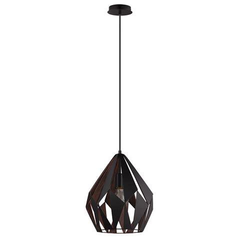black and copper pendant light eglo carlton 1 black and copper pendant light 49254a the
