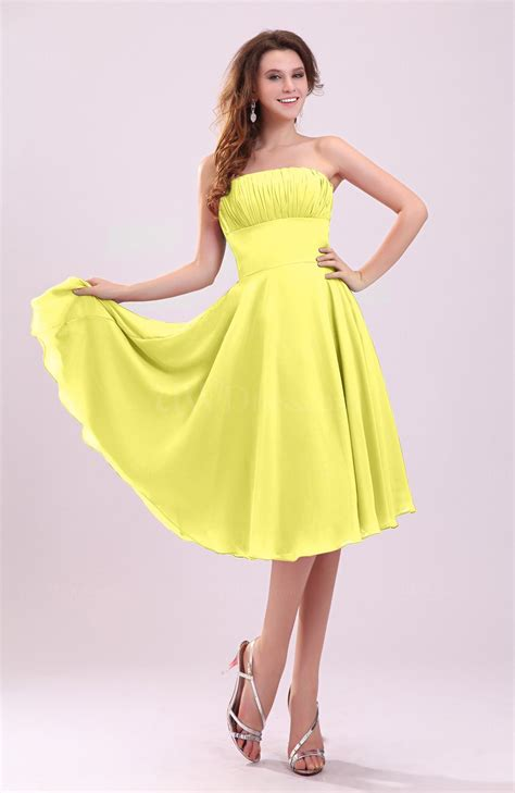 www dress pale yellow simple a line sleeveless backless pleated