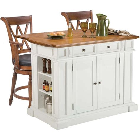 Bar Stool For Kitchen Island White Oak Kitchen Island And Two Deluxe Bar Stools
