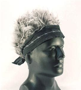 spiked grey hair hat bandana with fake grey crazy hair 163 spiked hair new