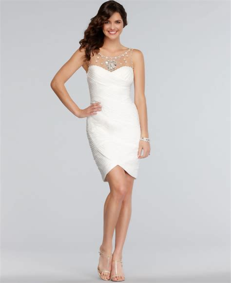 white beaded cocktail dress lyst papell sleeveless jeweled beaded pleated