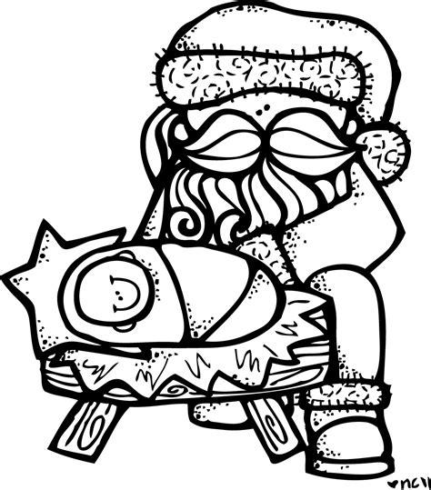 melonheadz santa and jesus free coloring pages of santa kneeling santa kneeling at the manger