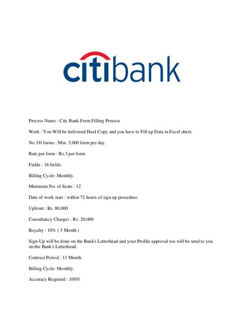 Citibank Letterhead City Bank Form Filling Process