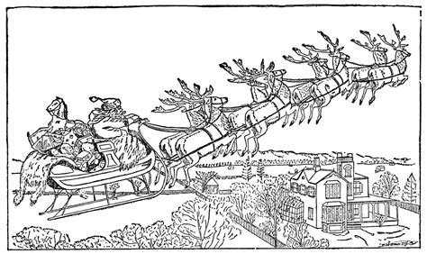 coloring page reindeer pulling sleigh vintage snips and clips santa claus reindeer and sleigh