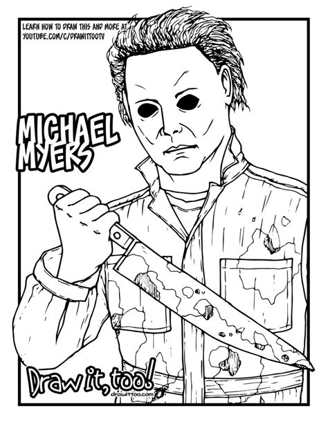 how to color a how to draw michael myers drawing tutorial