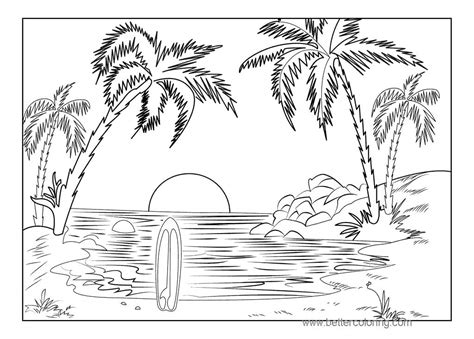 sunset coloring pages summertime coloring pages tropical sunset free printable