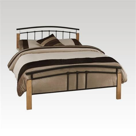 Tetras Beech And Black Small Double Metal Bed Frame From Small Bed Frames