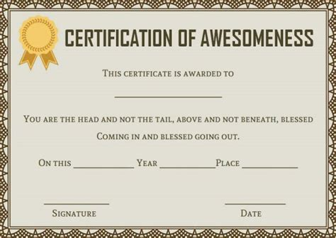 certificate of awesomeness template certificate of awesomeness template 25 best certificates