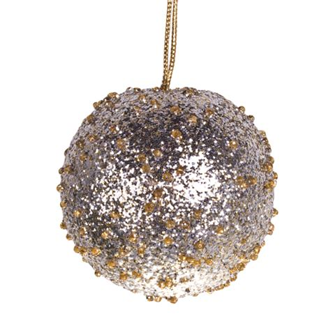 Bartier Steq 50 022 Gold Silver pale gold silver beaded bauble 65mm baubletimeuk