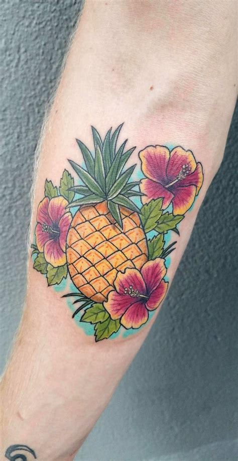 hibiscus pineapple tattoo by phoebe at model citizen