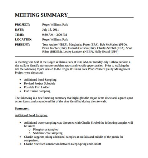 Meeting Summary Report Template Sle Meeting Summary Template 11 Free Documents In Pdf