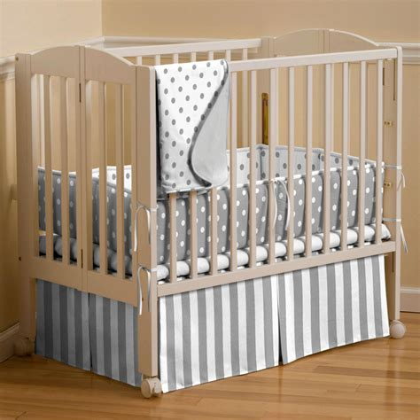 porta crib bedding gray and white dots and stripes portable crib bedding