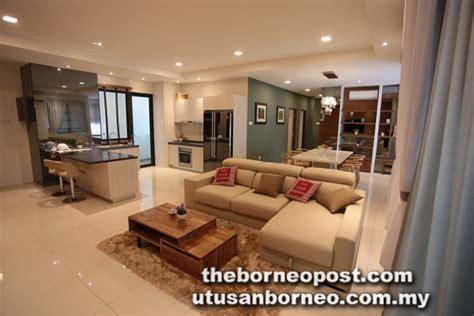 the living room kuching rivervale condominium offers premium living spaces